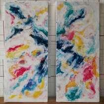 Абстракция картина, диптих. Акрил, холст. 70×80 см, в г.Костанай