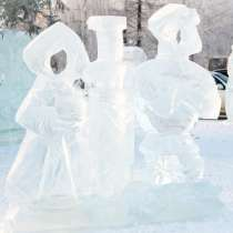Ледовый городок, ледовая скульптура, природный лед, в Сургуте