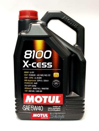 Масло MOTUL 8100 X-cess 5W40 синтетическое 5 литров