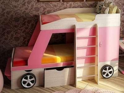Джип кровать-машина розовая