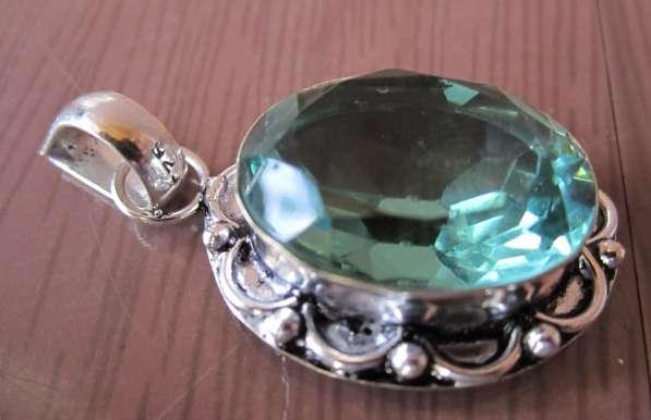 Кулон. Серебро, камень кварц голубой Апатит (Quartz Apatite)