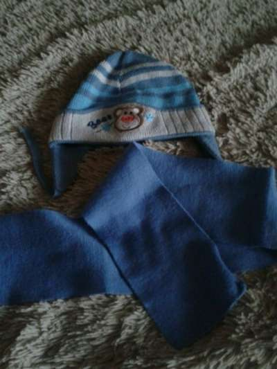 шапочка с шарфом 1-2года