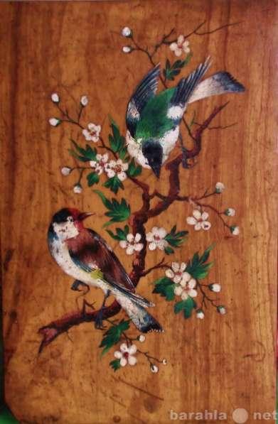 19в панно деревянное с птичками