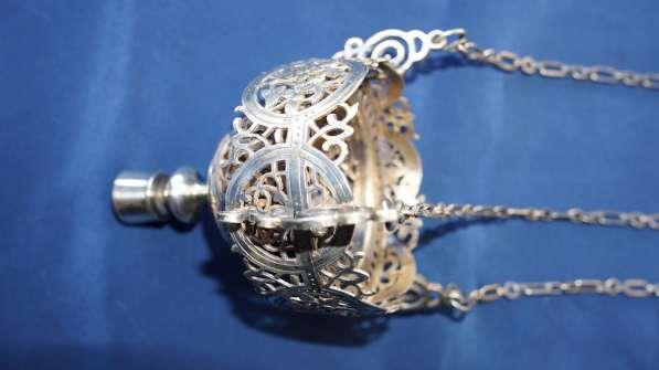 Лампада подвесная серебряная с ажурным орнаментом. 1881 год в Санкт-Петербурге фото 12