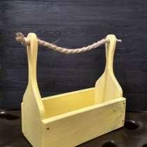 Ящик деревянный светло-желтый с веревочной ручкой, в г.Минск