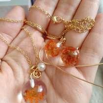 Ожерелье и серьги с цветком в бусине, в г.Липецк