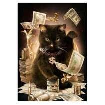 """Алмазная картина 5Д - """"Удачливый кот"""", в г.Бишкек"""