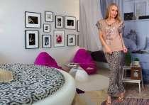 Костюм женский бежевый для дома (блуза и брюки), в Перми
