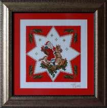 Картина «Дед Мороз с подарками»,ручная работа, вышивка, в г.Минск