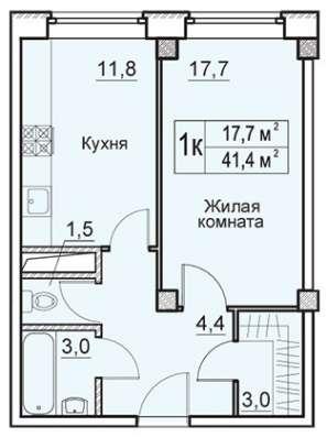 1-к квартира, 41 м², ЖК Восточная Европа