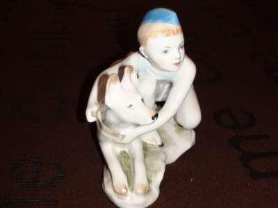 """Скульптура """"Мальчик с собакой"""""""