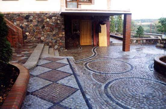 Укладка тротуарной плитки-водостоки
