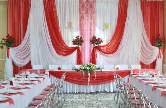 Оформление свадебного зала тканями, цветами, шарами в Пензе Фото 1