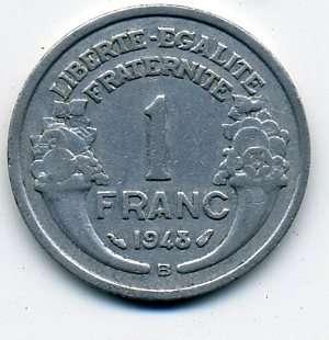 Франция 1 франк 1948 г. (В - Beaumont le Roger)