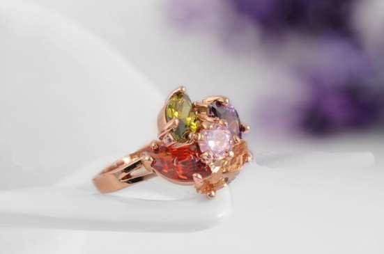 Кольцо р.16.5 (покрытие - розовое золото)