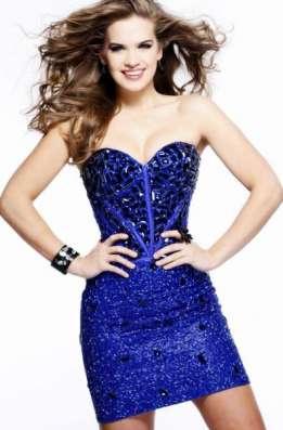 Синее вечернее платье в камнях, Sherri Hill