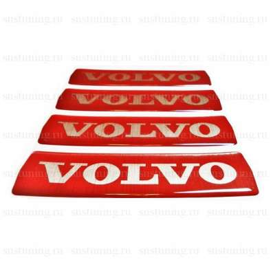 Наклейка на эмблему с логотипом Volvo, красная, на большую в Москве Фото 1