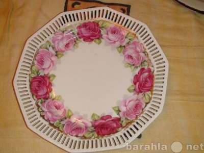 19в тарелка с розами и решоткой