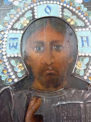 Икона Господь Вседержитель оклад серебро эмаль в Орле Фото 5
