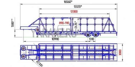 35. Панелевоз- трал низкорамный 23-тонник 13,3 метров, со съемной 12-ти метровой фермой для перевозки панелей.