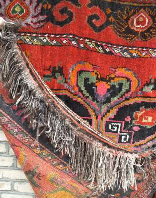 Антикварный шерстяной ковер ручной работы (Сумак) из Узбекис