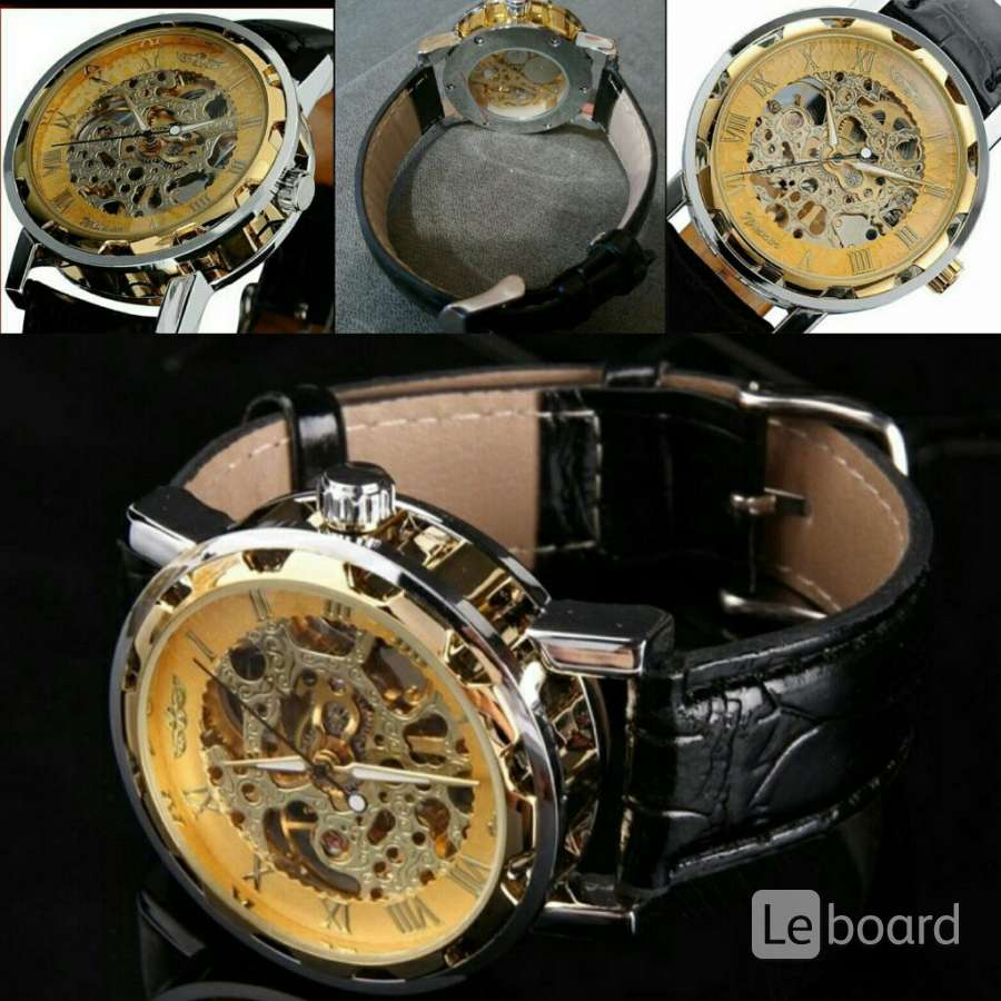 Мужские механические наручные часы Скелетоны Winner Gold